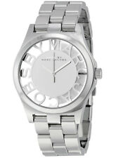 New Marc By Marc Jacobs Ladies Watch Henry Skeleton 40mm Silver Tone MBM3205
