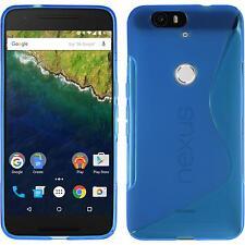 Silikon Hülle für Google Nexus 6P blau S-Style + 2 Schutzfolien