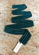 "NWT Anthropologie Teal Blue Green Beaded Wrap Belt Sash Scarf 72"" x 2.5"" O/S"