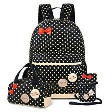 School Bags for Girls Cute Dot 3 Sets Kids Book Bag School Backpack Handbag Purs
