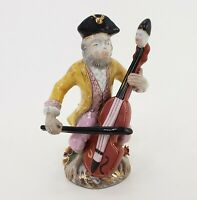 "Colonial Monkey Man Figurine Playing Musical Instrument 9"" Ceramic 1970s Vintage"