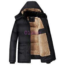 d90e51aeac Mens Warm Fur Lined Hooded Puffer Cotton Blend Fleece Jacket Trench Winter  Coats
