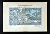 1894 Muller World Weather Map Isobars Atmospheric Pressure Prevailing Winds July