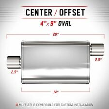"""MAGNAFLOW UNIVERSAL MUFFLER 13216 4"""" x 9"""" OVAL STAINLESS STEEL 2.5"""" IN/OUT"""