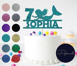 Birthday Personalised Mermaid Glitter Cake Topper