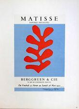 Henri Matisse Poster Papiers Decoupes Berggreun Cie Mourlot First Edition 1959