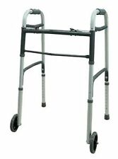 """Dual Button Walker with 5"""" Wheels, Adjustable Height, Folding, 300 lb. Cap"""