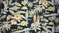 Men's large Pierre Cardin Hawaiian shirt Dark Blue Surf Boards Palm Trees