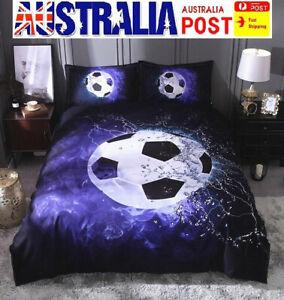 AU Stock 3D Football Soccer Flame Quilt Doona Duvet Cover Bedding Pillow Set