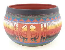 Navajo Indian Pottery Pot with Kokopellies By Ella Morgan