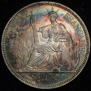 1907 French Indo-China 1 Piastre - Large Silver Coin! - Beautiful Toning