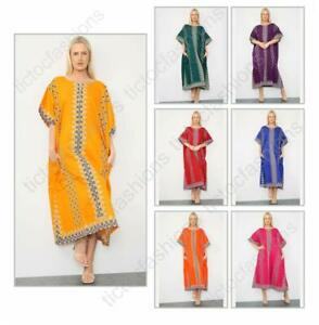 Ladies Long African Kaftan Dress Floral Print Pockets 100% Cotton Free Size 3311