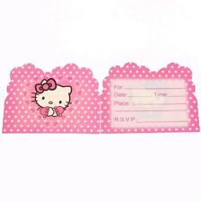 Hello Kitty Party Invitations X 10 Birthday Kids Pink Girls