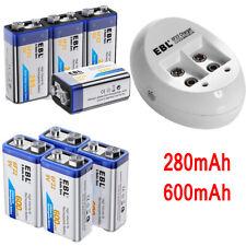Lot 280/600mAh Ni-Mh Li-ion 9V 6F22 Rechargeable Batteries  + 9 Volt USB Charger