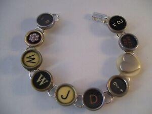 Vintage Typewriter Key Bracelet WWJD? 8 Glass Keys Hand Made OOAK Jesus Heart
