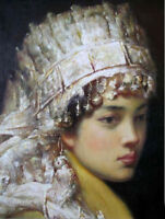 LMOP308  chinese fancy tibet minority girl portrait OIL PAINTING art on CANVAS