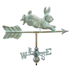 Weathervane 21 in. L x 25 in. H x 11 in. W Rabbit Blue Copper with Roof Mount