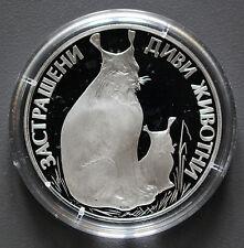 25 Lewa Silbermünze BEDROHTE TIERWELT - LUCHS Bulgarien 1990 -02222-