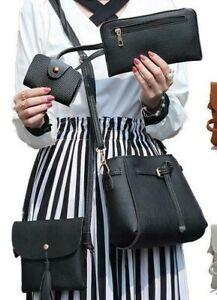 4 Piece Tote Hand Bag Set -- Black