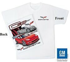 Corvette C-6 White tee Shirt with Front C6 Logo and Graphics on Back (LARGE)