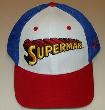Superman New Era Cap Hat Flex Fit Wordmark Neo S/M DC Comics 39thirty New  Blue