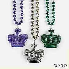 Metallic Mardi Gras Crown Beads 3 Piece Party Favors