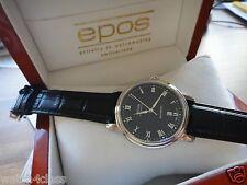 epos Emotion Mechanical Guilloche Dial Swiss Dress Watch Black 3390 ETA 2892-A2