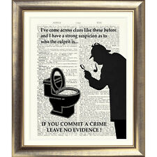 FUNNY TOILET SIGN 'SHERLOCK HOLMES' Art Print on Dictionary Page HUMOUR Novelty