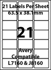 Avery L7160 Compatible Inkjet/Laser - 21 Blank Address Labels - 10 Sheets