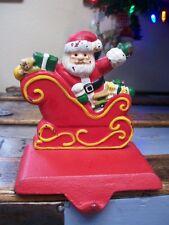 Santa in Sleigh Bag of Toys SOLID Cast Iron CHRISTMAS STOCKING HOLDER Hanger