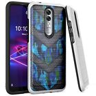 Silver Combat Case for Coolpad Legacy Brisa (2020) Phone Cover -BLUE CAMO BADGE