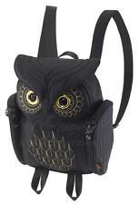 Owl ladies BLACK 3D backpack MORN CREATIONS Gold Stitches bag girl female legend
