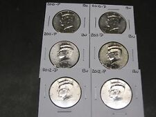 2010 2011 2012  P & D  KENNEDY HALF DOLLARS FROM MINT ROLLS (6 Coins)