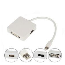 3in1 Thunderbolt Mini DP Display Port to HDMI DVI VGA Adapter Cable For Mac Air