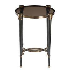 Elegant Black Gray Glass Round Accent Table   Brass Gold Side Pedestal