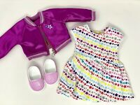 AMERICAN GIRL DOLL TRULY ME MEET OUTFIT Rainbow DRESS JACKET SPARKLE SHOES, New