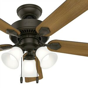 Hunter Fan 44 inch Indoor Traditional New Bronze Ceiling Fan with Light Kit