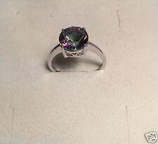 Ring Größe 8 Stein Mystic Topaz, 925 Sterling Silber, Rhodiniert 0013