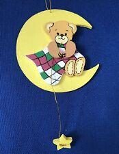 Rare 1984 Lucy & Me Bear On Moon w/Star Christmas Ornament Wood Enesco Riggs
