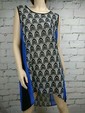 Threadz Dress Top Sleeveless Size XL High Low Hem Black White Blue