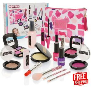 Kids Pretend Fake Make Up Set for Girls, Play Kit For Children With Cosmetic Bag