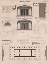 Greek Doric Hexa style-Peripteral Temple. Front section plan. Cleithral 1860