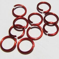 RED Anodized Aluminum JUMP RINGS 200 3/8 16g SAW CUT Chainmail chain mail