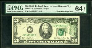US Paper Money 1981 $20 FRN PMG 64 Offset ERROR NO RESERVE!