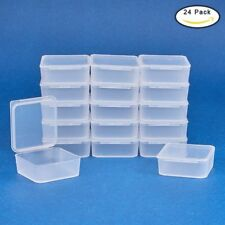 24 Pack Square Frosted Clear Plastic Bead Storage Containers Box Case with Lids