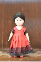 Fabulous VINTAGE Costume Doll of a Sweet Little Lady In a Red Dress - 11cm Tall