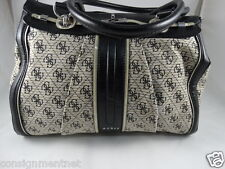 GUESS CANVAS CREAM/BLACK PATENT LEATHER COMBINATION LADIES HANDBAG