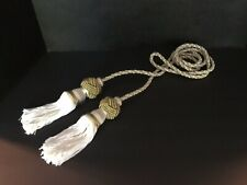"""SET (4) DECORATIVE WHITE/GOLD TWISTED ROPE CORD 93"""" LONG WITH TASSELS 8"""" LONG"""