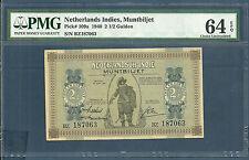 Indonesia Netherlands Indies 2.5 Gulden, 1940, P 109a, BZ187063, PMG 64 EPQ UNC