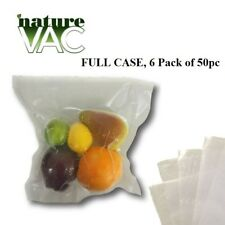 6 Pack NatureVAC 15''x20'' 50pc Precut Vacuum Seal Bags ALL CLEAR-USA FREE SHIP